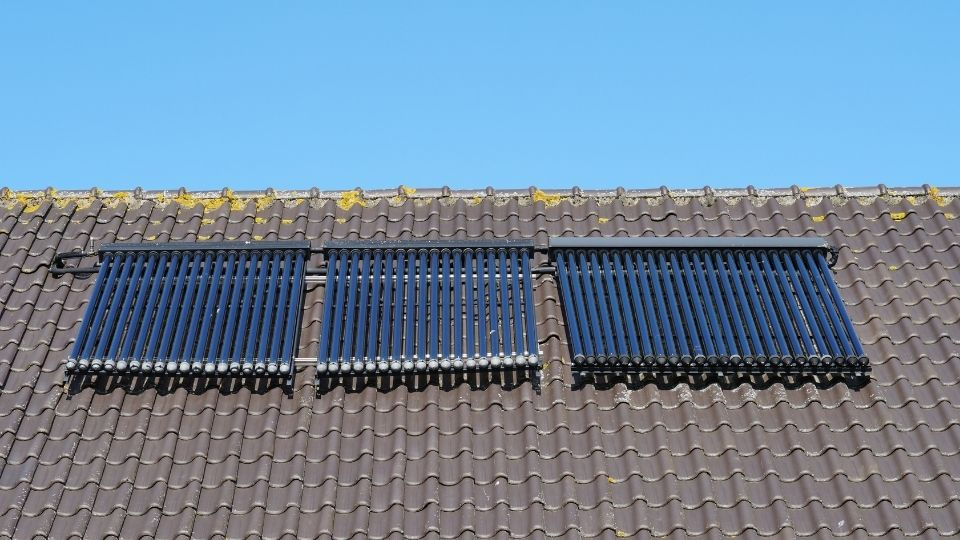 Solar thermal panels on a roof