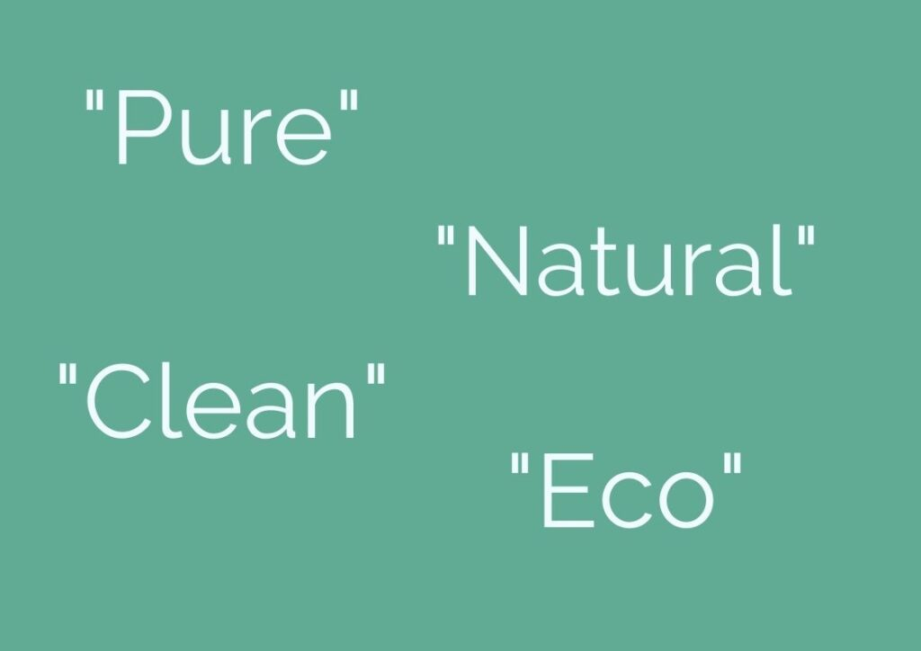Examples of words used to greenwash