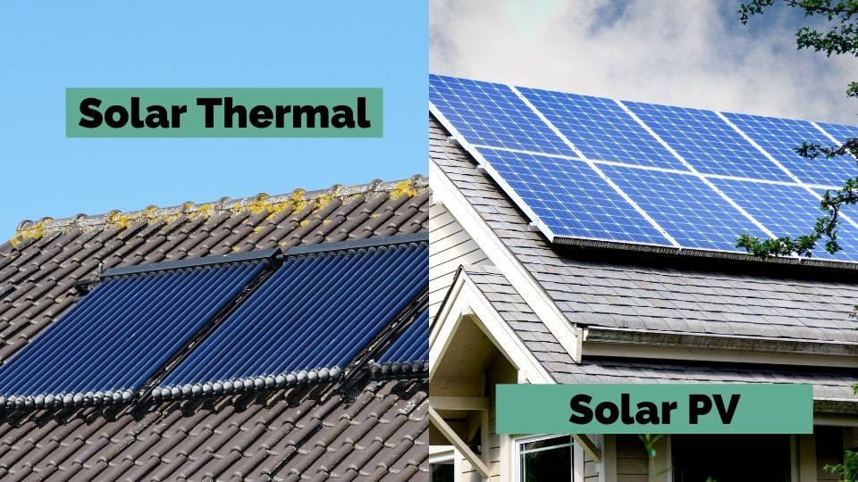 The visual difference between solar thermal panels and solar PV panels.